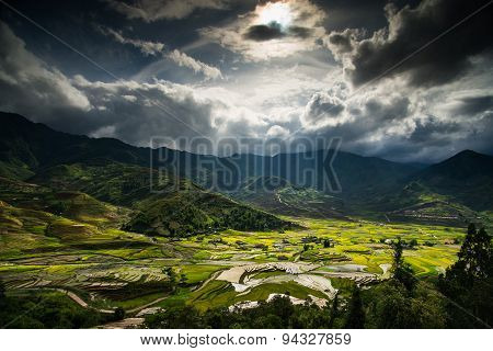 Terraced rice field in water season in Mu Cang Chai Vietnam