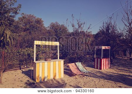 Lemonade Stand And Kissing Booth In The Garden