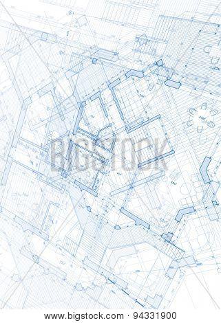 Architecture design: blueprint - vector illustration