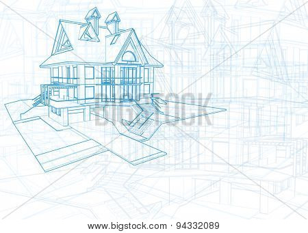 Architecture design: blueprint house - vector illustration