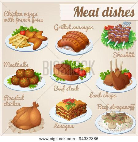 Set of food icons. Meat dishes.