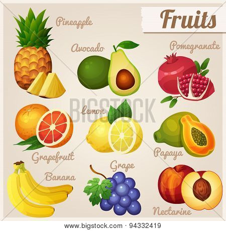 Set of food icons. Fruits.