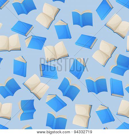 Reading books seamless pattern