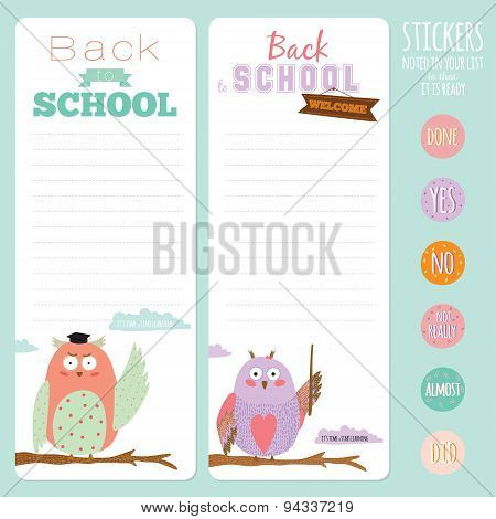 Back to School design. Cute and cartoon illustration owl teacher with talk bubble welcome to school. Vector design elements for notebook, diary, organizer and other school template design. poster