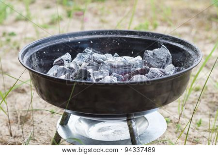 Smouldering Charcoal In Small Grill