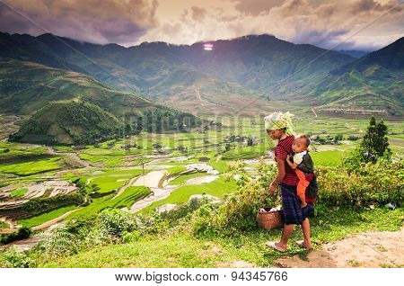 H'mong ethnic minority woman with her son in Mucangchai, Vietnam