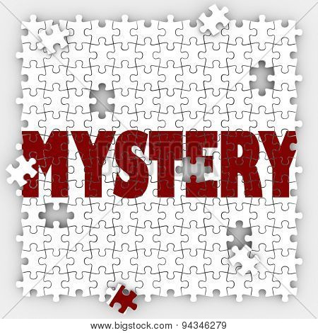 Mystery word on puzzle pieces to illustrate solving an unknown problem or uncertainty with a solved answer