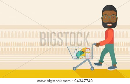 A black male shopper pushing a shopping cart inside the supermarket. A Contemporary style with pastel palette, soft beige tinted background. Vector flat design illustration. Horizontal layout with