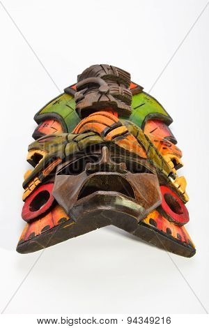 Indian Mayan Aztec Wooden Mask With Anaconda And Jaguar Isolated On White Backgrounda
