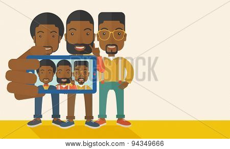 Three happy black men taking a selfie using smartphone. Photo concept. A Contemporary style with pastel palette, soft beige tinted background. Vector flat design illustration. Horizontal layout with