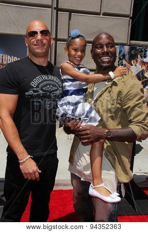 LOS ANGELES - JUN 23:  Vin Diesel, Tyrese Gibson, Tyrese's daughter at the