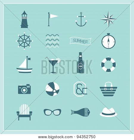 Blue Summer Naval and beach icons set