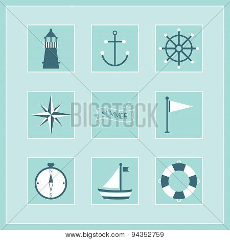 Blue Summer and Naval icons stickers set poster