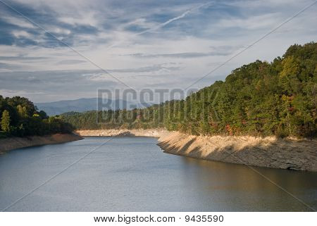 Fall Scene With Nantahala River Flowing Through Nantahala National Forest