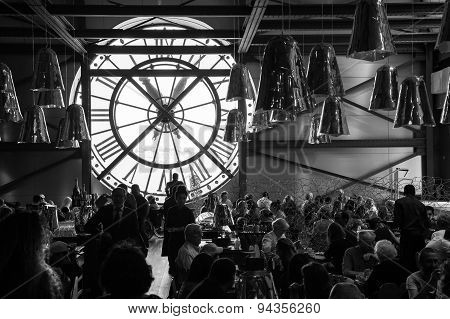 Restaurant With Clock Window In Orsay Museum