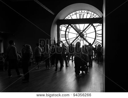 Tourists And Visitors Near The Ancient Clock