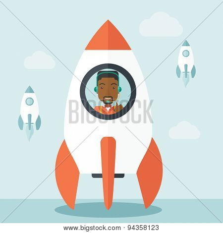 poster of A black guy is happy inside the rocket it is a metaphor for starting a business, new beginning. On-line start up business concept.  A Contemporary style with pastel palette, soft blue tinted