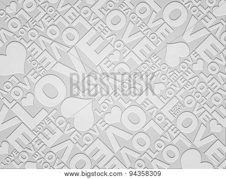 Plain White Love Valentine's Day Typographic Texture