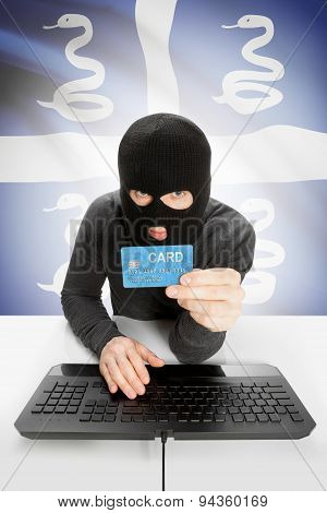 Cyber crime concept with flag on background - Martinique poster