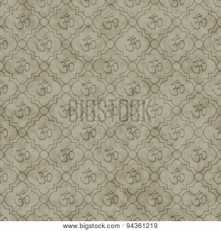 Brown Aum Hindu Symbol Tile Pattern Repeat Background