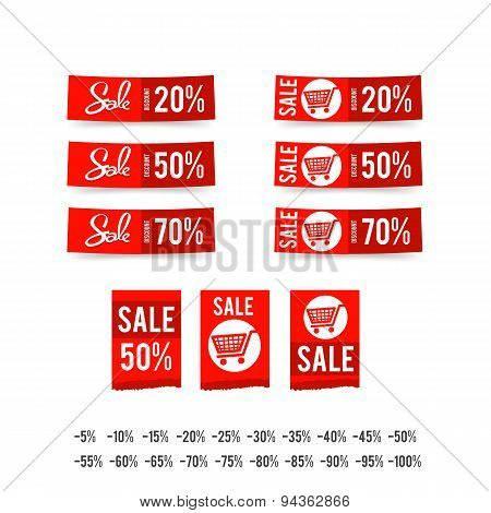 Set Of Sale Tag Circle Banner Ribbon Paper - Vector Illustration 003