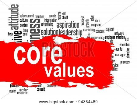 Core Values Word Cloud With Red Banner