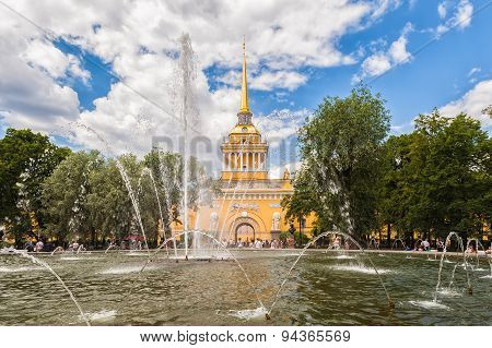 Admiralty Building And Fountain In The Garden, Saint Petersburg