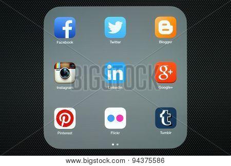 KIEV UKRAINE - APRIL 27 2015:Collection of popular social media logos on iPad screen