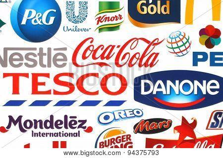 KIEV UKRAINE - MAY 07 2015:Collection of popular food logos companies