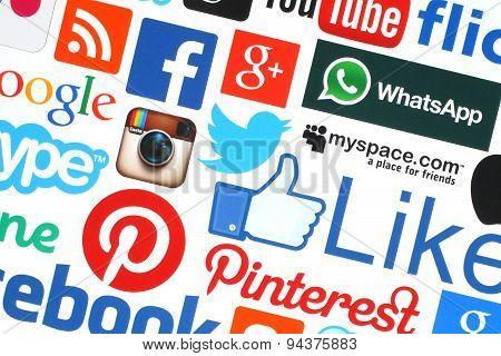 KIEV UKRAINE - MAY 18 2015:Collection of popular social media logos