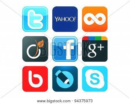 KIEV UKRAINE - June 12 2015:Collection of popular social media logos