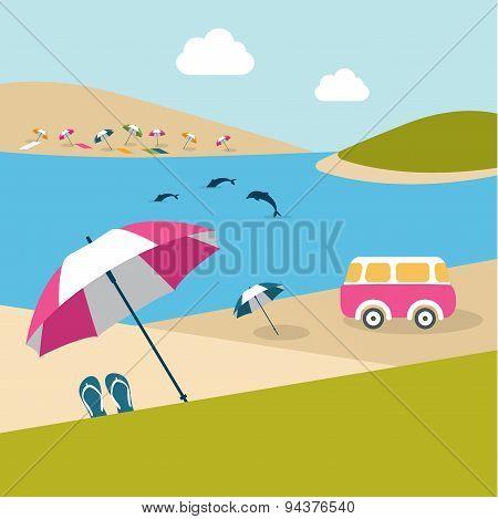 Summer Beach Island With Dolphins.
