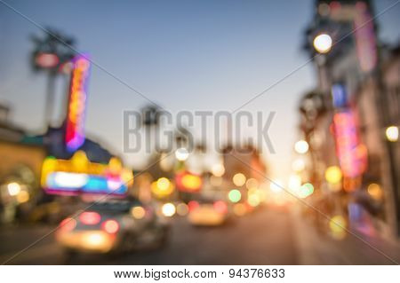 Defocused Blur Of Hollywood Boulevard At Sunset - Bokeh Abstract View Of World Famous Walk Of Fame