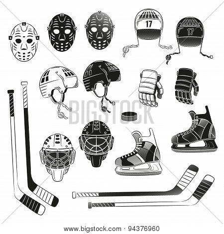Hockey objects as silhouettes. Hockey helmet goalie masks gloves stick puck skating - in monochrome stamp style . poster