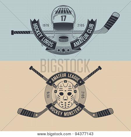 Logo for the hockey team or league. Hockey logo in the style of tattoo hockey mask helmet hockey sticks. poster