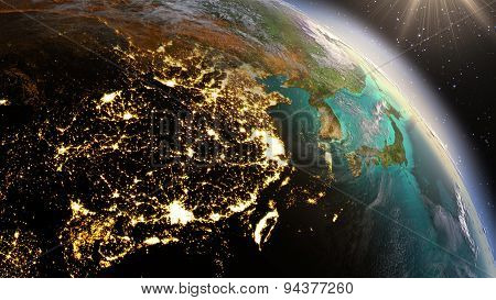 Planet Earth Night And Sunrise. Elements Of This Image Furnished By Nasa