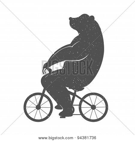 Vintage Illustration Of Funny Bear On A Bike