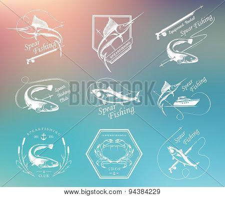 Big Set Of Logo, Badges And Icons Spearfishing