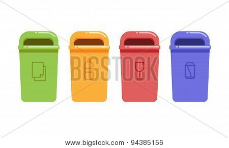 Vector illustration of containers for recycling waste sorting poster
