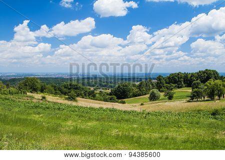Idyllic landscape in Zumberak, Croatia, summer view poster