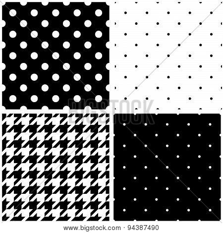 Tile black and white vector background set with polka dots and houndstooth pattern