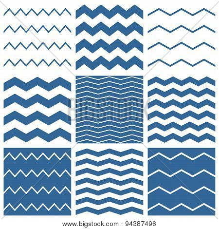 Tile vector chevron pattern set with sailor blue and white zig zag background for seamless decoration wallpaper poster