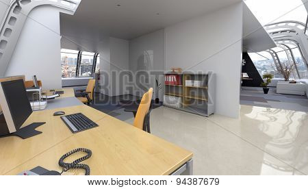 Interior of Home Office in Modern Penthouse Apartment Furnished with Contemporary Desk and Computer and Sitting Room in Background. 3d Rendering