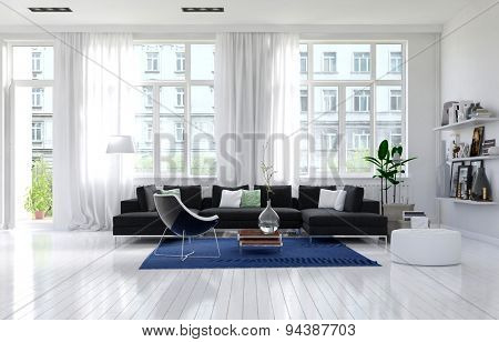 Contemporary monochromatic white living room interior with large windows, an external door and cozy seating corner with couch, an armchair and shelves of mementos, large spacious sunny. 3d Rendering.