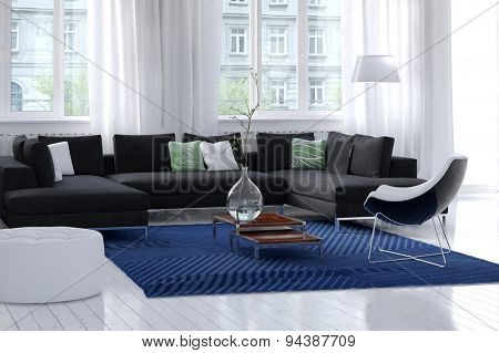 Bright airy modern living room interior with white walls and wooden floor, large windows with filmy drapes, and a simple rug and corner unit modular settee in charcoal grey. 3d Rendering.