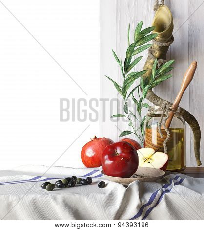 Honey jar with apples and pomegranate Rosh Hashana hebrew religious holiday