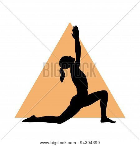 Girl in yoga pose on the triangle background.