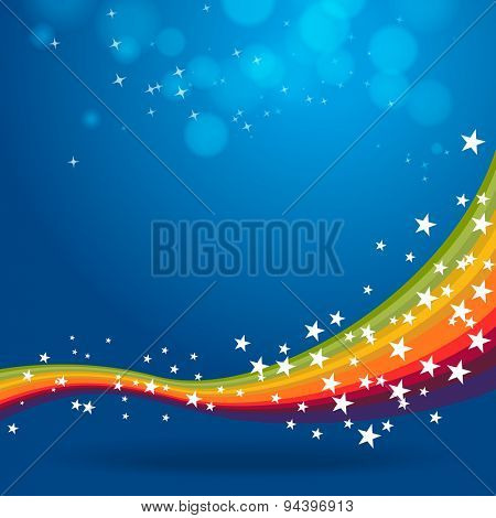 Rainbow on blue background with stars and lights