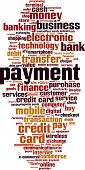 Payment word cloud concept. Vector illustration on white poster