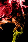 An abstract red, yellow and orange smoke trail. poster